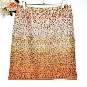 Anthro HD in Paris Orange Embroidered Skirt Size 4